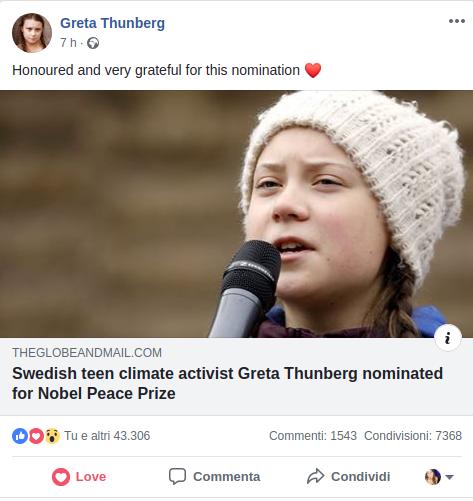 Greta Thunberg_Nobel per la pace